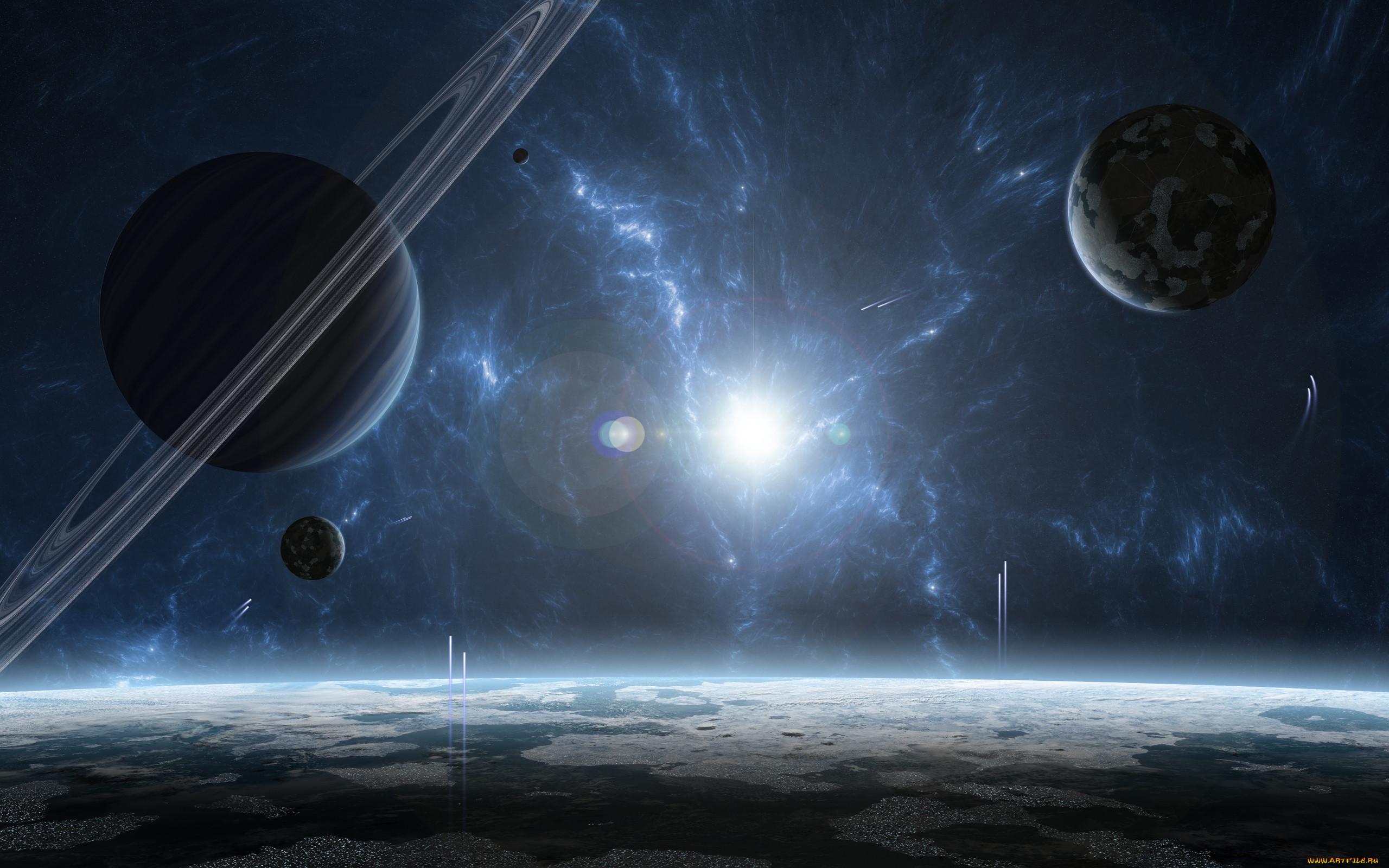 космос, арт, звезда, планеты, газовый, гигант, звездная, система